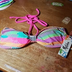 Malibu Bandeau Top Striped & Polka Dot Small